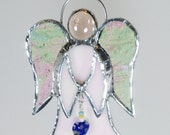White Iridescent Stained Glass Angel with  Heart Bead Suncatcher or Christmas Ornament