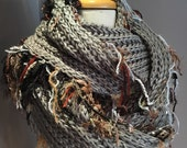 Knit Grey wide infinity scarf, Fringed 'Showstopper', Glitzy Ribbon Fringed Knit Round Loop Infinity, Poncho, black grey scarf, knit shawl