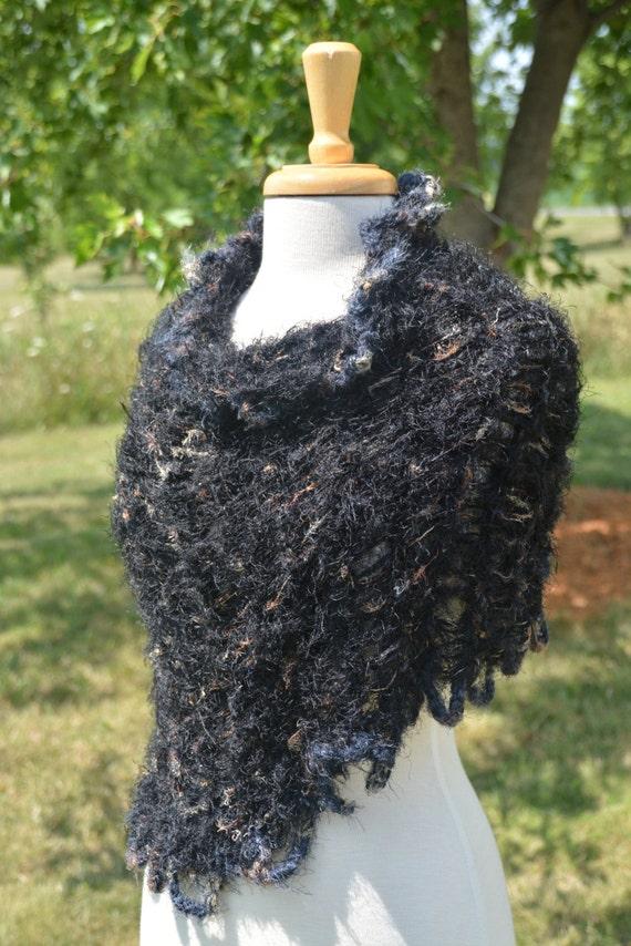 SALE Knit Black and bronze tone poncho, knit cowl, black shoulder wrap, Glitzy Ribbon Knit 'Looped Up', Poncho, black metallics