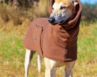 Brown Fleece Greyhound Coat, size large--Fleece Dog Coat/Greyhound Coat/Fleece Greyhound Coat/ Snood Coat/Sighthound Coat/Winter Fleece Coat