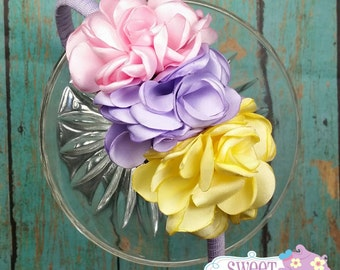 Pink Lavender and Yellow Singed Flower Headband