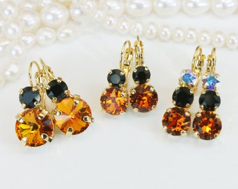 Halloween Black Orange Earrings Halloween Crystal Earrings Jewelry orange Black Drop Earrings,Swarovski rhinestones Crystals,Gold,BE102