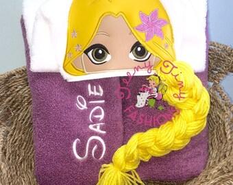 Rapunzel Hooded Towel ~ Rapunzel Birthday ~ Princess Birthday ~ Swim Lesson Towel ~ Beach Towel~Pool Towel~Tangled Birthday ~ Disney Cruise