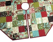 Figgy Pudding Quilted Christmas Tree Skirt - Brown, Red and Aqua Blue Octagon Tree Skirt Quilt, Country Christmas Decor
