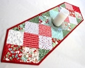 Christmas Charms Quillted Table Runner,  In From the Cold Holiday Runner, Cotton Fabric by Kate Spain, Red, Green, Silver and Aqua