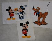 Three Unframed Cross Stitch Mickey & Minnie Mouse and Pluto