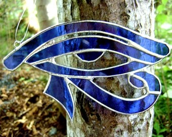 Eye of Ra Stained Glass Egyptian Eye of Horus Pagan Wicca Blue Halloween Valentines Yule Christmas Bridal Birthday Original Design©