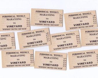 Vintage Australian Railway Tickets  NSW Australia | Marayong to Vineyard | Thick Cardboard Tickets x 10