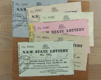 Vintage NSW State Lottery Tickets |  Lot of 7 Old Australian 1950s Ephemera