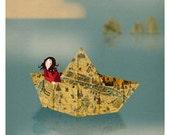 Paris map origami paper boat vintage Girl - Meet me inParis Print 8 x 11.5