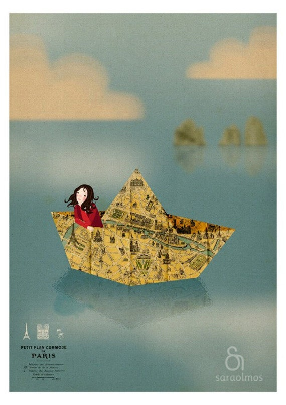 Paris map origami paper boat vintage Girl - Meet me inParis Print 8 x 11.5