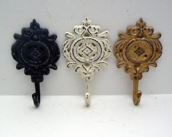 Ornate Medallion Shabby Cottage Chic Classic Trio Rustic Floral Hook Cast Iron Key Leash Jewelry Hat Scarf Set 3 Hooks Black Cream Gold