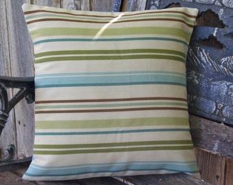 "Throw Pillow Cover, Baja Blue & Opal Stripe Outdoor Throw Pillow Cover, Reversible Handmade Striped Outdoor Cushion Cover, 14x14"" - LAST ONE"