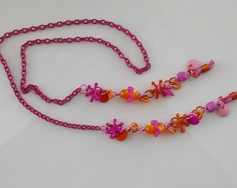 Eyeglass Chain - Lanyard Pink Orange