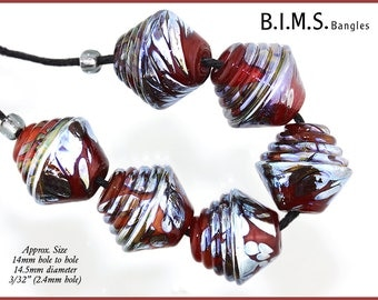 Lampwork Beads, 6 Beautiful Translucent Red and Silver Glass Half Ribbed Bicone beads, Red Lampwork Beads, Make to Order, Bims Bangles