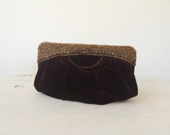 1940s purse / beaded purse / Coppermine bag