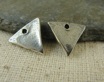 Rustic Sterling Silver Triangle Charms - One Pair - crsst