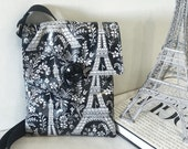 Crossbody Purse in Eiffel Tower Print, Black Oilcloth Crossbody Bag, Vegan Purse