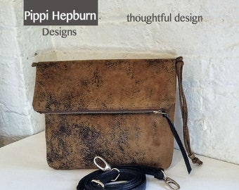Bestseller Vegan Crossbody Bag in Distressed Honey Mustard Faux Suede, Vegan Suede Bag, Foldover Crossbody Bag
