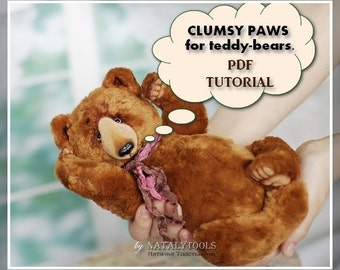 PDF tutorial step-by-step how to make CLUMSY PAWS for teddy bears by NatalyTools, Instant download tutorial, instruction how to do made