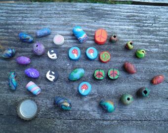 Twenty Nine Assorted Polymer Clay Beads (Handmade) (One of a Kind)