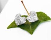 Ivy Leaf Earrings, Silver Leaf Studs, Sterling Silver Ivy Leaf Earrings, Silver Stud Earrings, Silver Leaf Earrings, Nature Gift for Her