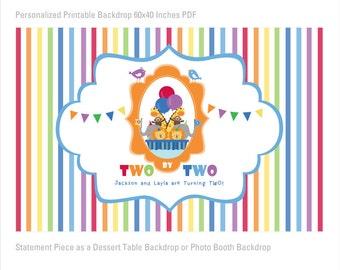 Noah's Ark Backdrop, Birthday Backdrop, Photobooth Backdrop, Large Scale Backdrop Printable