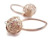 Rose Gold Earrings Wire Knot Freshwater Pearl Bridesmaid Gift Tie the Knot, Tumbleweed