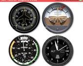 Altimeter Airspeed Attitude Direction Indicator Aviation Coasters - Set of 4