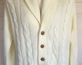 Vintage cable knit shawl collar cardigan