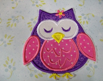 Girly Owls - Iron On or Sew On Embroidered Custom Made Applique