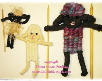 Flat Dancing Sheep Woven on Weaving Sticks or Peg Loom