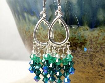 Emerald Green Chandelier Earrings, Swarovski Crystal, Sterling Silver, Large Drop Dangle Earrings, Wedding Jewelry, May Birthday, Handmade