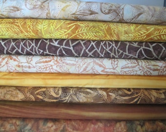 Gold Brown Aurora Batik Fabric Bundle - Moda - Half Yard Bundle