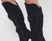 SALE Vintage 80s SUEDE Over the Knee Boots FRINGE High Heel Boots Black Leather Rocker Boots Size 9