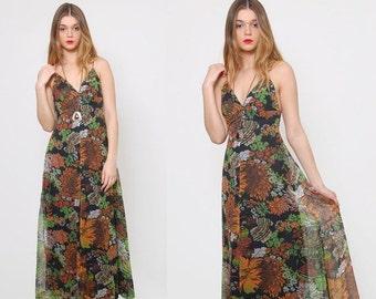 FALL SALE Vintage 70s FALL Floral Maxi Dress Sleeveless Boho Dress Flower Print Hippie Dress