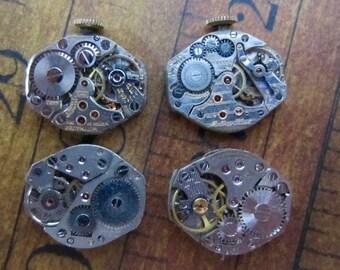 Vintage Antique Watch movements - Watch parts - Steampunk - Scrapbooking W51