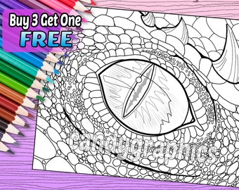 Dragon Eye - Adult Coloring Book Page - Printable Instant Download