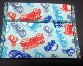 Fire Trucks and Traffic Tuckables Pouch, Small (4 x 4.5) - Cloth Menstrual Pads, Wipes, Snacks, & more