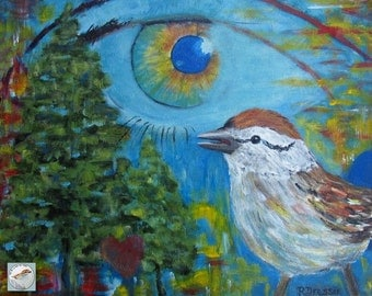 Modern Abstract Bird and Eye Painting Fine Art 16x20 Large Format Acrylic on Canvas Nature Earth Tree Contemporary Original Art for Any Room