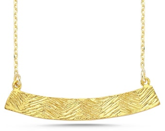 Fill Necklace-Textured Necklace-Handcrafted Gold Plated Brass
