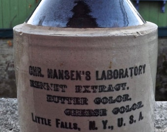 Antique Stoneware Jug CHR. Hansen's Laboratory Little Falls, NY, USA Advertising Jug