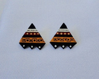 Black, Cream, Golden Brown Triangle Ceramic Earrings. Artist Made Earrings.