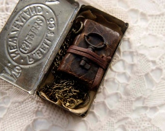 The Little Wanderer - Miniature Wearable Book, Dark Brown, Tiny Vintage Key, Vintage Tin, OOAK
