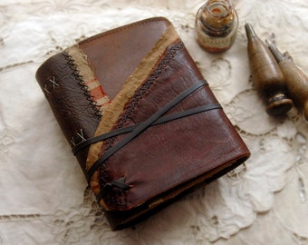 The Old Relic, Dark Brown Leather Journal, Aged Paper - OOAK