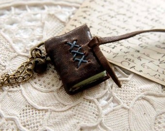 A Little Gypsy - Miniature Wearable Book, Dark Brown Leather, Aqua Stained Pages & Vintage Bell, OOAK