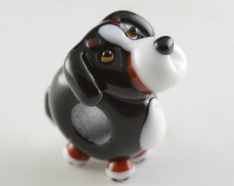 Bernese Mountain Dog Lampwork Glass Big Hole Bead Handmade by Laurie Cleary