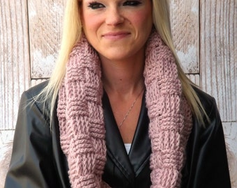 Chunky Infinity Cowl - Pink Basket Weave Cowl - Hooded Cowl - Rose Winter Cowl - Chunky Winter Cowl - Textured Scarf - Infinity Scarf