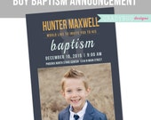 LDS Baptism Invitation, Boys Baptism Announcement, Blue, Aqua Great to be 8, Photoshop File, customization available read in description