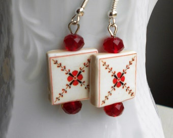 Portugal  Antique Tile Replica Earrings,  MURTOSA,   Red Flower Majolica Mosaic - waterproof and reversible 491